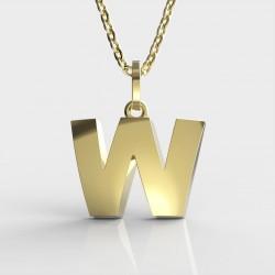 Dětský zlatý přívěsek BeKid (písmenko W) - 1631 (žluté zlato Au585)
