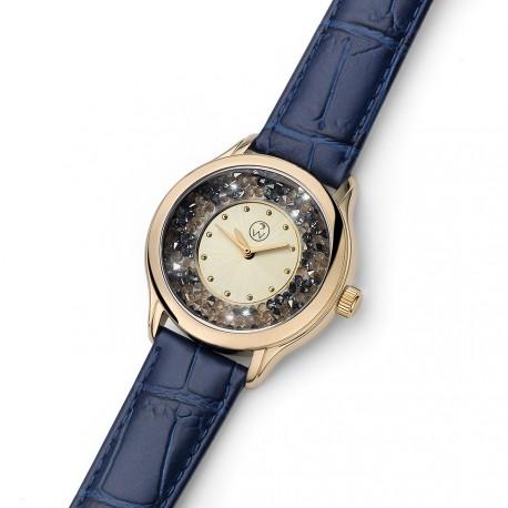 Dámské náramkové hodinky Oliver Weber Rocks Steel - 65058 (leatherstrap blue)