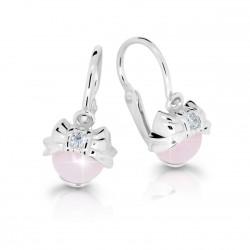 Dětské naušnice Cutie C3845-B Pink Opal Cabochon