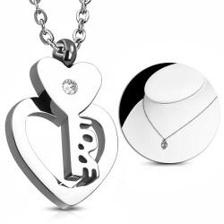 Elegantní náhrdelník se srdcem a klíčem