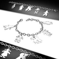 Ocelový náramek se zavěšenými postavičkami