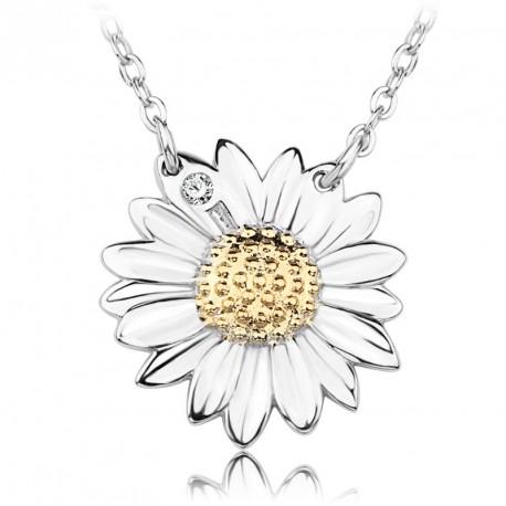 Stříbrný náhrdelník s kopretinou