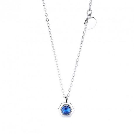 Stříbrný náhrdelník s modrým zirkonem