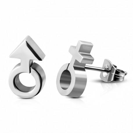 Ocelové náušnice Gender Symbols
