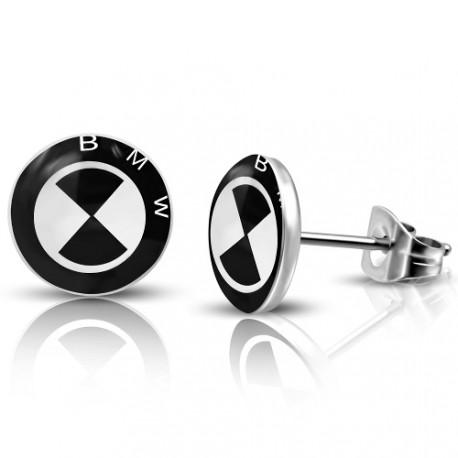 Náušnice BMW - černobílé