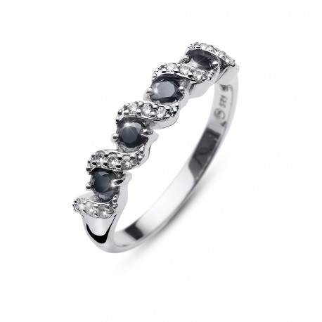 Stříbrný prsten Oliver Weber Paso - 63236 (black)