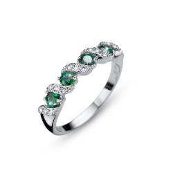 Stříbrný prsten Oliver Weber Paso - 63236 (green)