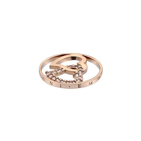 Přívěsek Hot Diamonds Emozioni Double Heart Rose Gold Coin