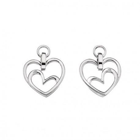 Stříbrné náušnice s diamanty Hot Diamonds Forever Heart