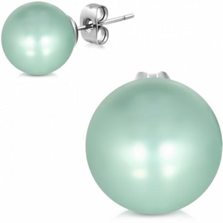 Ocelové náušnice zdobené zelenkavou perlou