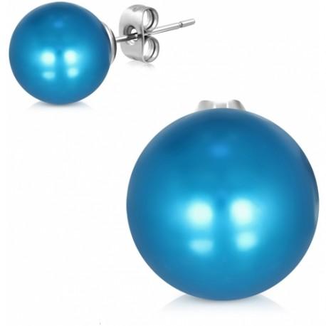 Pecky z chirurgické oceli zdobené modrou perlou