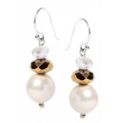 Stříbrné visací náušnice s perlou OMS-305