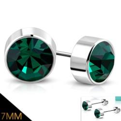 Ocelové náušnice se zeleným zirkonem