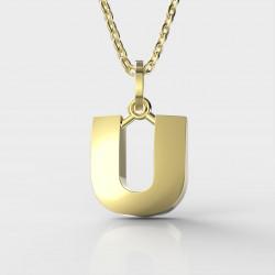Dětský zlatý přívěsek BeKid (písmenko U) - 1629 (žluté zlato Au585)