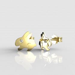 Dětské zlaté náušnice BeKid - 1285 zajíc (žluté zlato Au585)