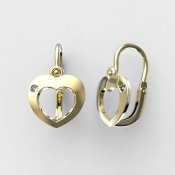 Dětské zlaté náušnice BeKid srdce - 827 88 (žluté zlato Au585