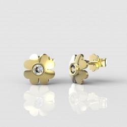 Dětské zlaté náušnice BeKid - 1270 čtyřlístek (žluté zlato Au585)