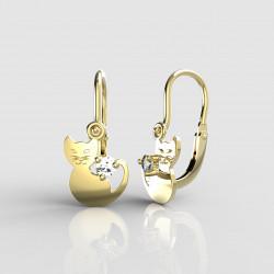 Dětské zlaté náušnice pro miminka BeKid - 1276 kočička (žluté zlato Au585)