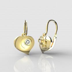 Dětské zlaté náušnice pro miminka BeKid - 1283 srdíčko (žluté zlato Au585)
