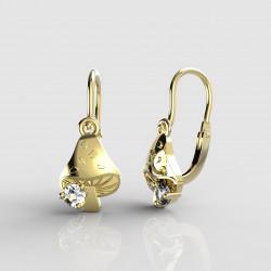 Dětské zlaté náušnice pro miminka BeKid - 1272 muchomůrka (žluté zlato Au585)