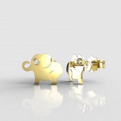 Dětské zlaté náušnice BeKid slon - 1282 03 (žluté zlato Au585