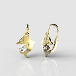 Dětské zlaté náušnice pro miminka BeKid - 1271 delfín (žluté zlato Au585)