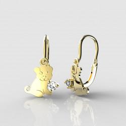 Dětské zlaté náušnice pro miminka BeKid - 1281 štěně (žluté zlato Au585)
