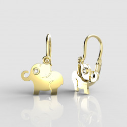 Dětské zlaté náušnice pro miminka BeKid - 1282 slon (žluté zlato Au585)