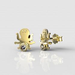 Dětské zlaté náušnice BeKid - 1274 chobotnička (žluté zlato Au585)