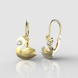 Dětské zlaté náušnice pro miminka BeKid - 1278 labuť (žluté zlato Au585)