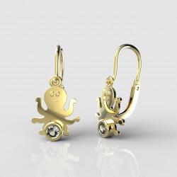 Dětské zlaté náušnice pro miminka BeKid - 1274 chobotnička (žluté zlato Au585)