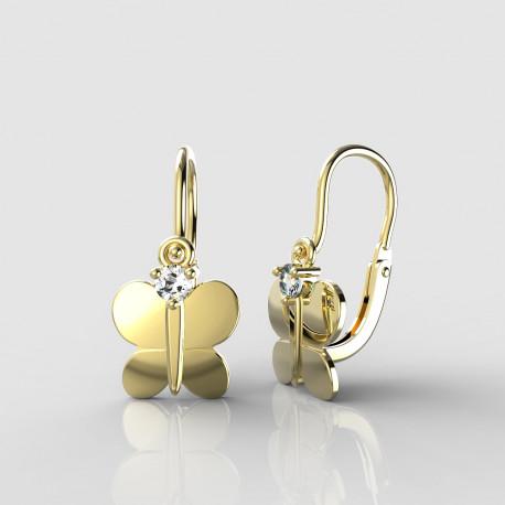 Dětské zlaté náušnice pro miminka BeKid - 1280 motýlek (žluté zlato Au585)