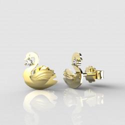 Dětské zlaté náušnice BeKid - 1278 labuť (žluté zlato Au585)
