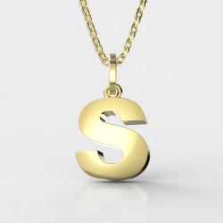 Dětský zlatý přívěsek BeKid (písmenko S) - 1627 (žluté zlato Au585)