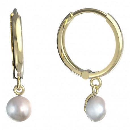 Dětské zlaté náušnice BeKid - 1291 perla - kruhy 15mm 1299 (žluté zlato Au585)