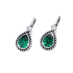 Náušnice Oliver Weber Antique Drop - 22636 (emerald)