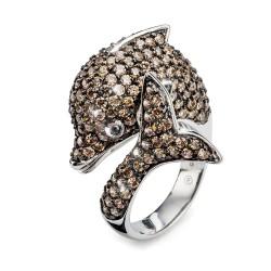 Stříbrný prsten Oliver Weber Jumping Dolphin - 63900