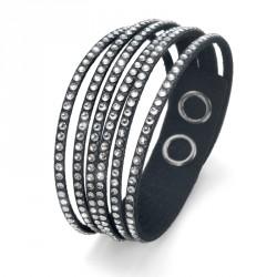 Náramek Oliver Weber Simple Cut Alcantara - 32130BL (black crystal)