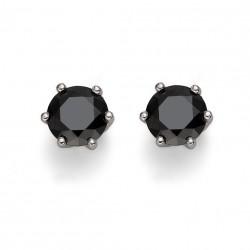 Stříbrné náušnice Oliver Weber Brilliance Medium - 62066 - Ag925 (black)