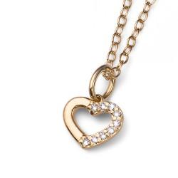 Stříbrný přívěsek Oliver Weber Loveheart - 61129 - Ag925 (crystal / gold plated)