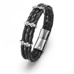 Ocelový náramek Oliver Weber Cord Steel - 67015 (crystal)