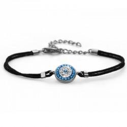 Stříbrný náramek Fabric Eye - 63510 - Ag925 (crystal blue)