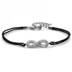 Stříbrný náramek Fabric Infinity - 63511 - Ag925 (crystal)