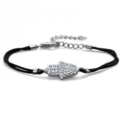 Stříbrný náramek Fabric Hand - 63512 - Ag925 (crystal)