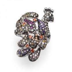 Stříbrný prsten Colorful Peafowl - S2015
