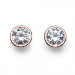 Stříbrné náušnice Oliver Weber Basic - 62072 - Ag925 (crystal / rosegold)